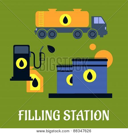Storage, transportation and filling station icons