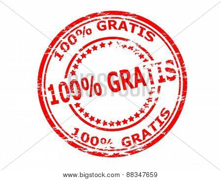 Rubber stamp with text one hundred percent gratis inside vector illustration