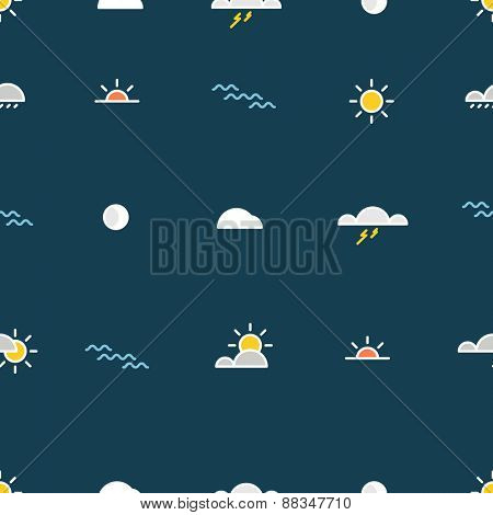 Different lineart nature silhouette icons seamless pattern