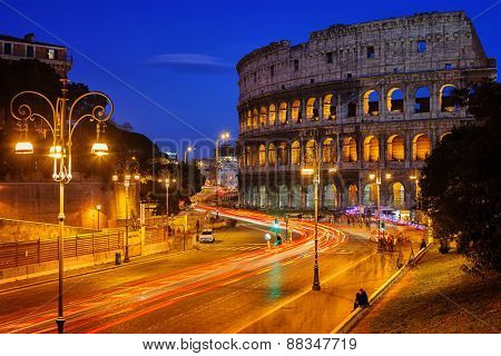Nightview of Colosseum in Rome, Italy