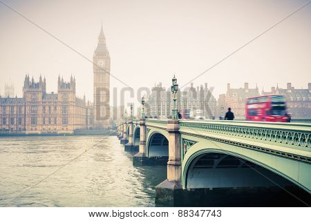 Big Ben and westminster bridge at foogy morning in London