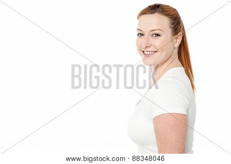 Smiling Woman Posing In Casuals