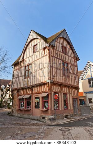 Fachwerk Style Medieval House In Provins, France