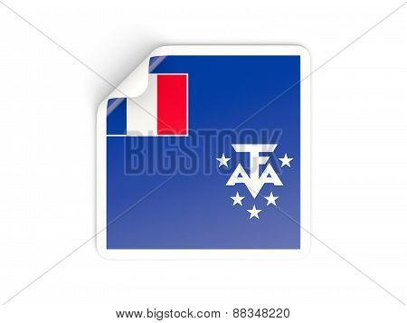 Square Sticker With Flag Of French Southern Territories