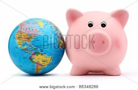 Piggy Bank With The Globe Isolated On White Backround