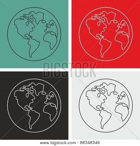 Planet Earth vector sign set isolated on white background