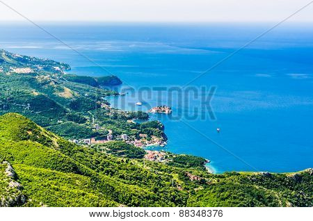 View On Mountain, Sea, And Sveti Stefan Island, Montenegro