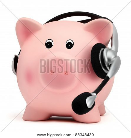 Piggy Bank With Headset Isolated On White Backround