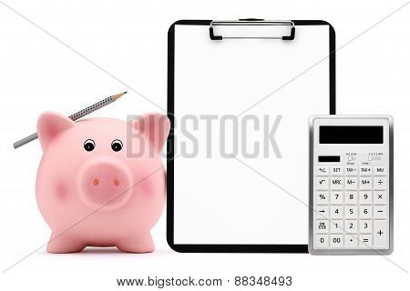 Piggy Bank With Calculator Pencil Clipboard Accounting Concept And Savings