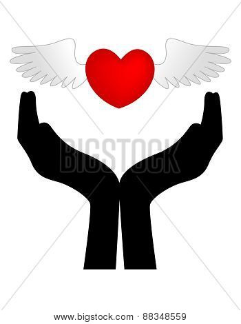 Heart With Wings On Hands