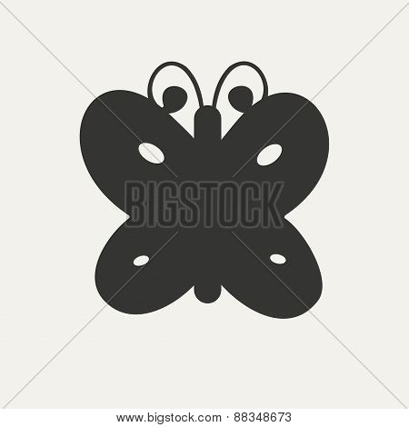 Flat in black and white mobile application butterfly