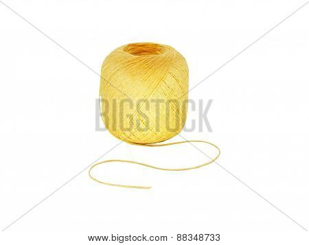 Ball of threads, yellow wool,