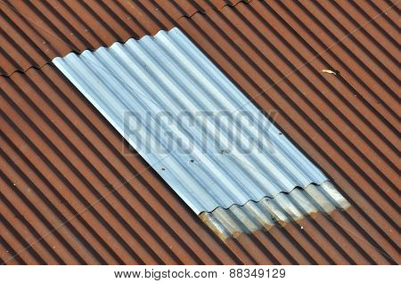 New Silver Corrugated Iron Between Old. Abstract Lining Background.
