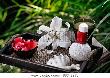spa still life in summer garden