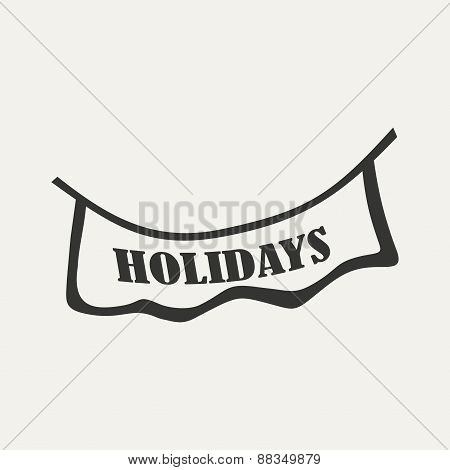 Flat in black and white mobile application signboard holidays