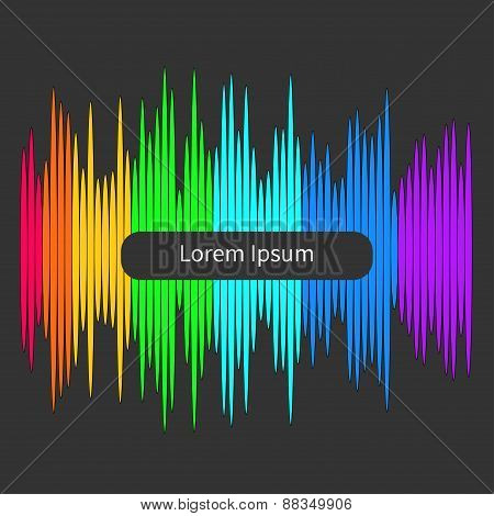 Digital Abstract Equalizer. Multicolored Waveform Background. Template Flat Design