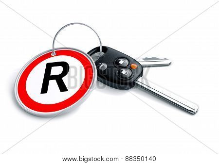 Car keys with South African Rand currency symbol as a keyring