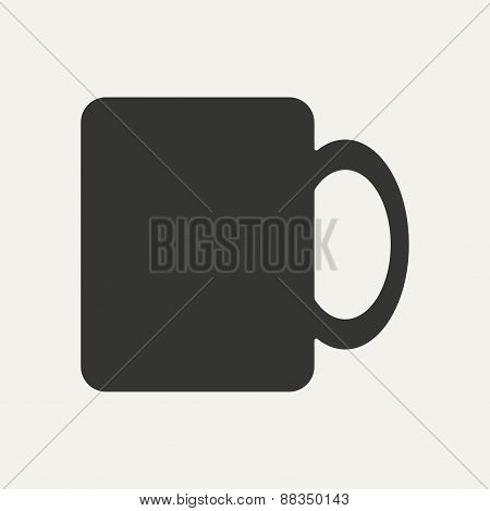 Flat in black and white mobile application cup