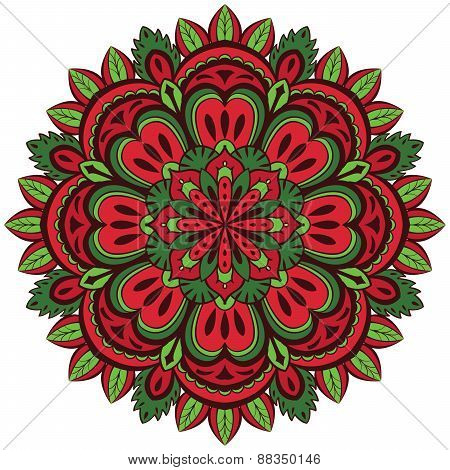 ?olor, Vector Mandala With Floral Pattern