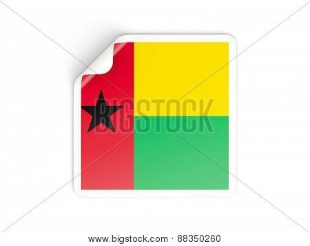 Square Sticker With Flag Of Guinea Bissau