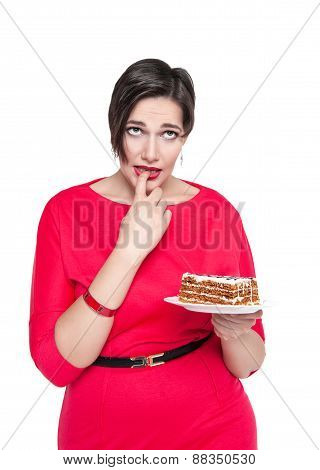Beautiful Plus Size Woman Temptating With Cake