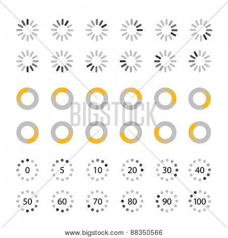 Different slyles of web loaders vector collection. Flat design elements