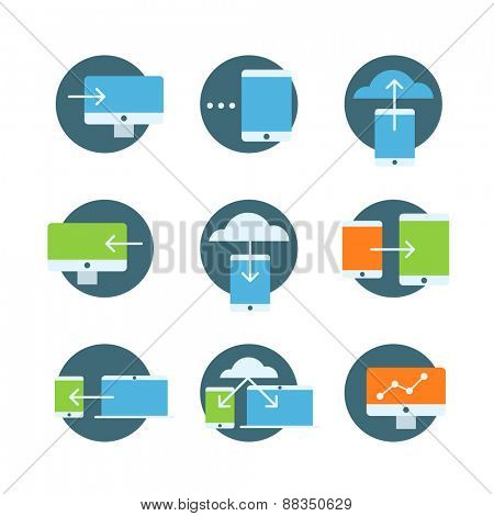 Information fransfer concept icons collection. Flat icons set isolated on white