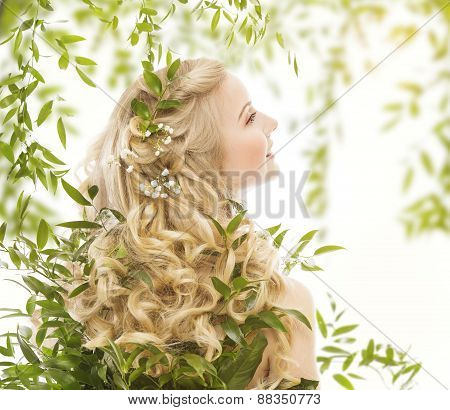 Hair In Green Leaves, Natural Treatment Care, Woman With Long Curly Blond Hairs, Back View