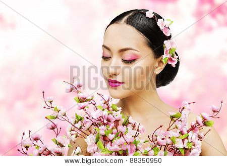 Woman Flowers Bunch Pink Sakura, Girl Makeup Beauty Portrait, Asian Model Fashion Face Make up