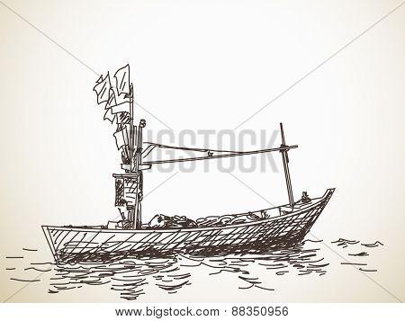 Sketch of small fishing boat, Hand drawn illustration