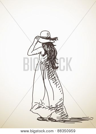 Sketch of woman in hat back view Hand drawn vector illustration