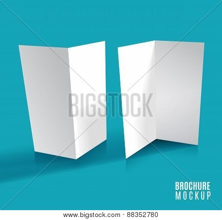 Brochure design isolated on blue