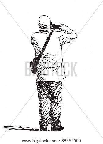Bald man taking photo with smart phone, Hand drawn illustration, Vector sketch