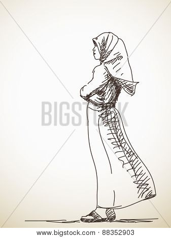 Sketch of standing Muslim woman Hand drawn vector illustration