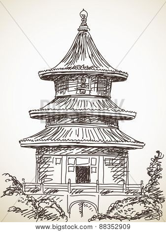 Sketch of Chinese style temple Hand drawn Vector illustration