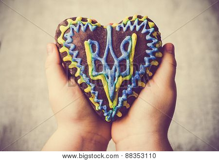 Gingerbread cake heart emblem Ukraine hands child