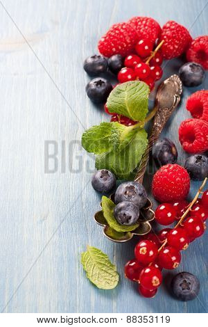 Berries mix with mint