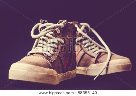 Leather shoes casual style on a colared background