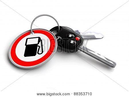 Car Keys with petrol gas pump road sign key ring