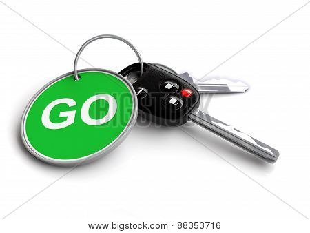 Car Keys with green GO road sign key ring