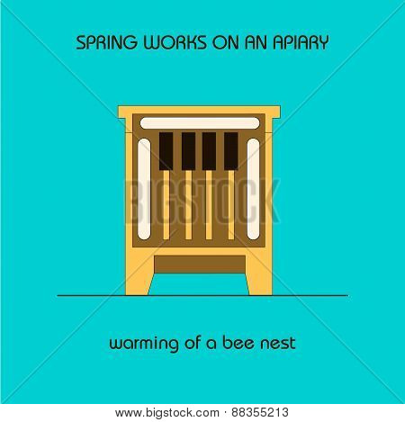Warming Of A Bee Nest (spring Work)