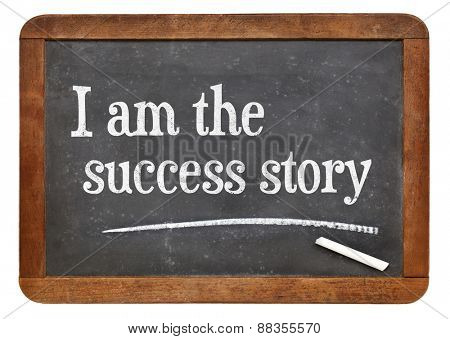 I am the success story - positive affirmation words on a vintage slate blackboard