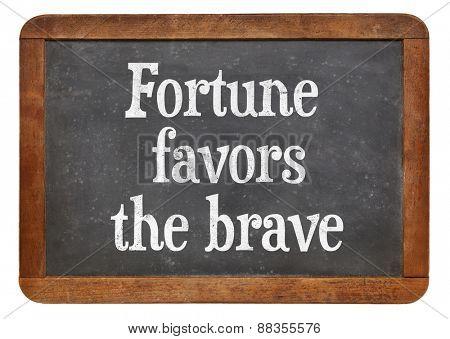 Fortune favors the brave - motivational words on a vintage slate blackboard