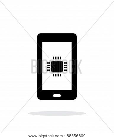 Phone CPU simple icon on white background.