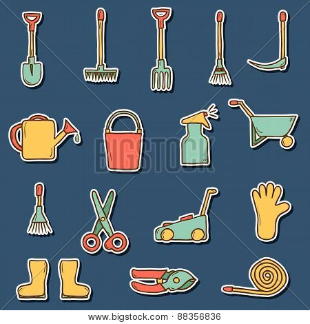 Set of hand drawn stickers with garden tools