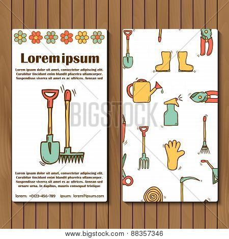 Template for booklet, card or flyer on garden tools theme
