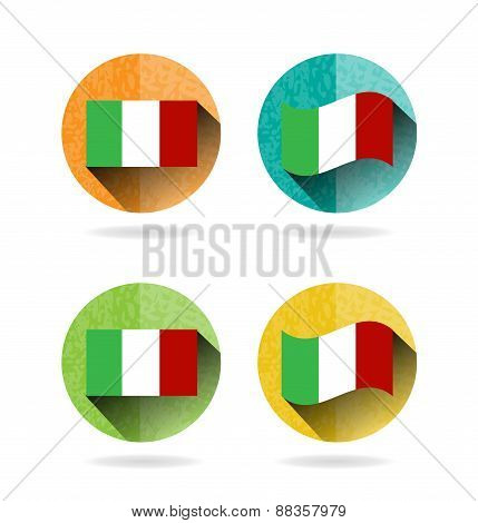 Set, collection, group of four modern, colorful, isolated, round buttons, icons, labels, signs with
