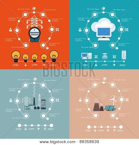 Energy    infographic cloud computing set.   Vector illustrations.