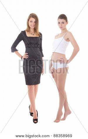 Morning Concept - Young Slim Woman In Dress And Underwear Isolated On White