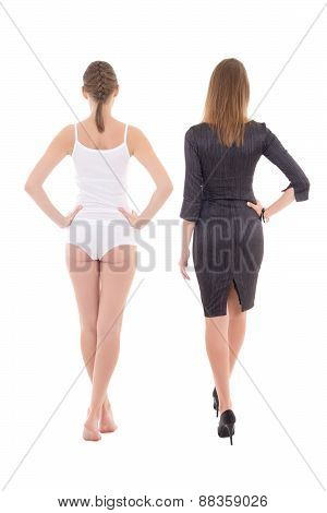 Morning, Before And After Concept - Back View Of Young Slim Woman In Underwear And Dress Isolated On